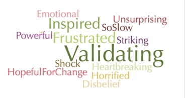Figure 1: Word cloud of audience and panelist reactions to the movie.