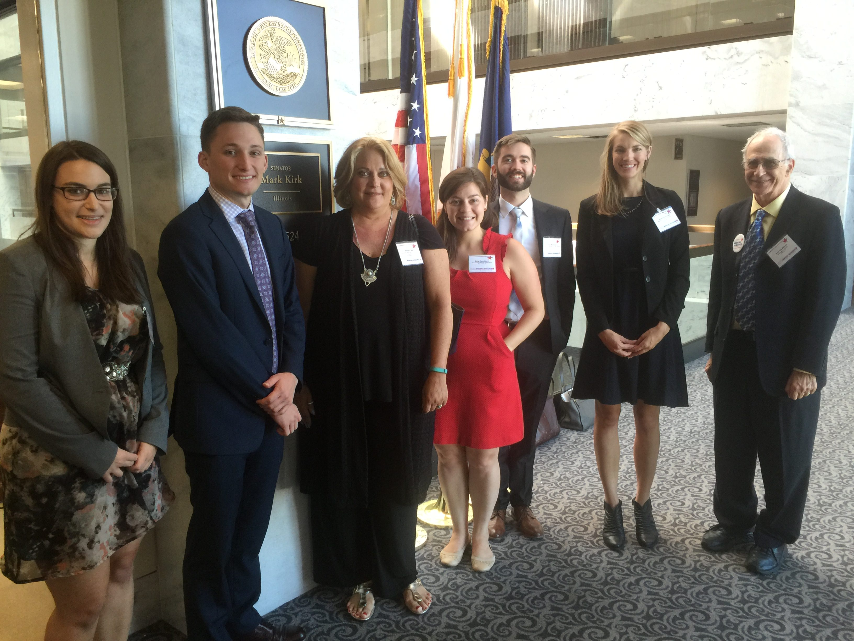 Eric Jakobsson (far right) visits the office of Senator Mark Kirk to advocate for NIH funding as part of the Rally for Medical Research.