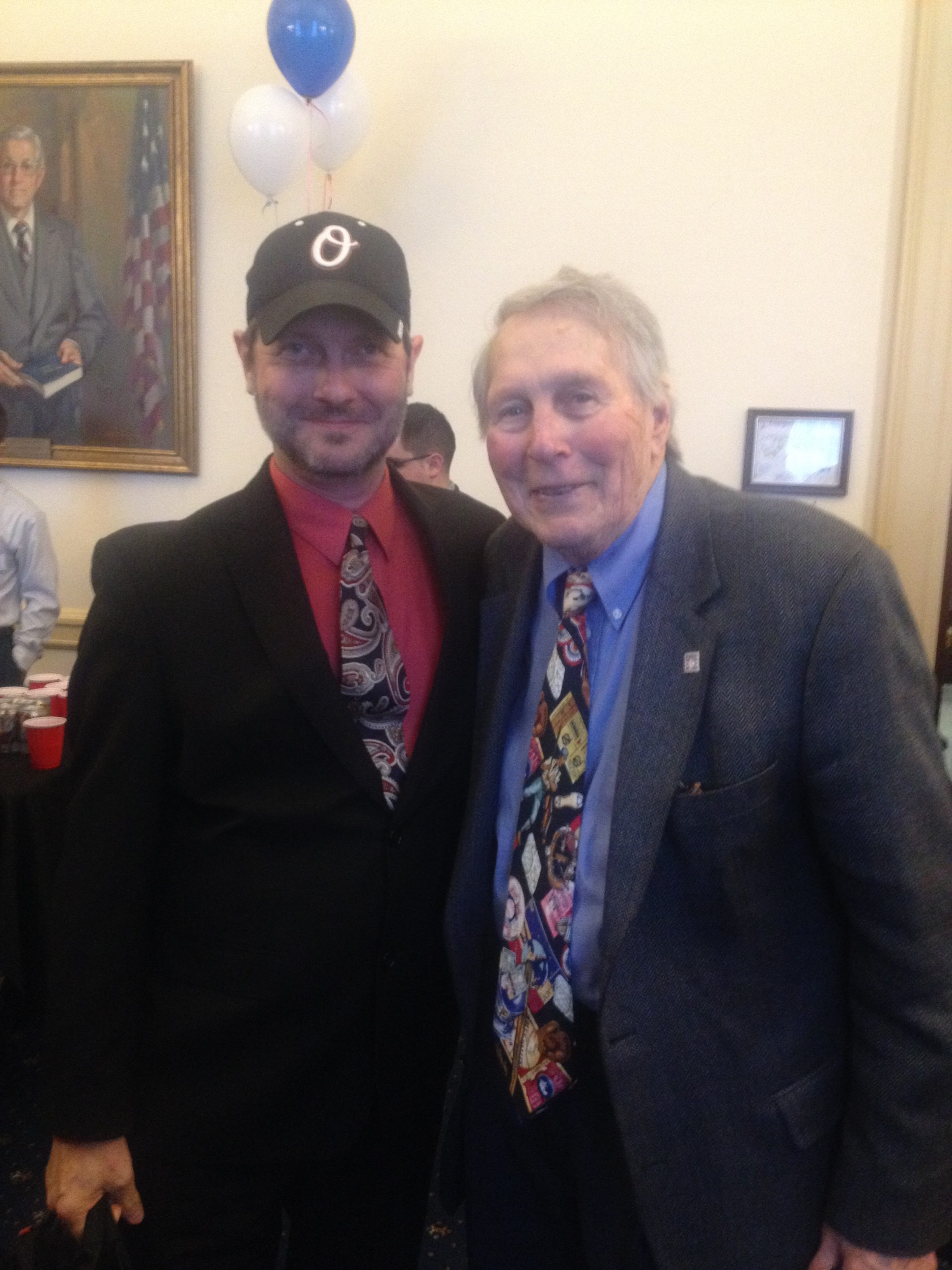 Wadkins with Baltimore Orioles great Brooks Robinson at a Major League Baseball reception on the Hill.