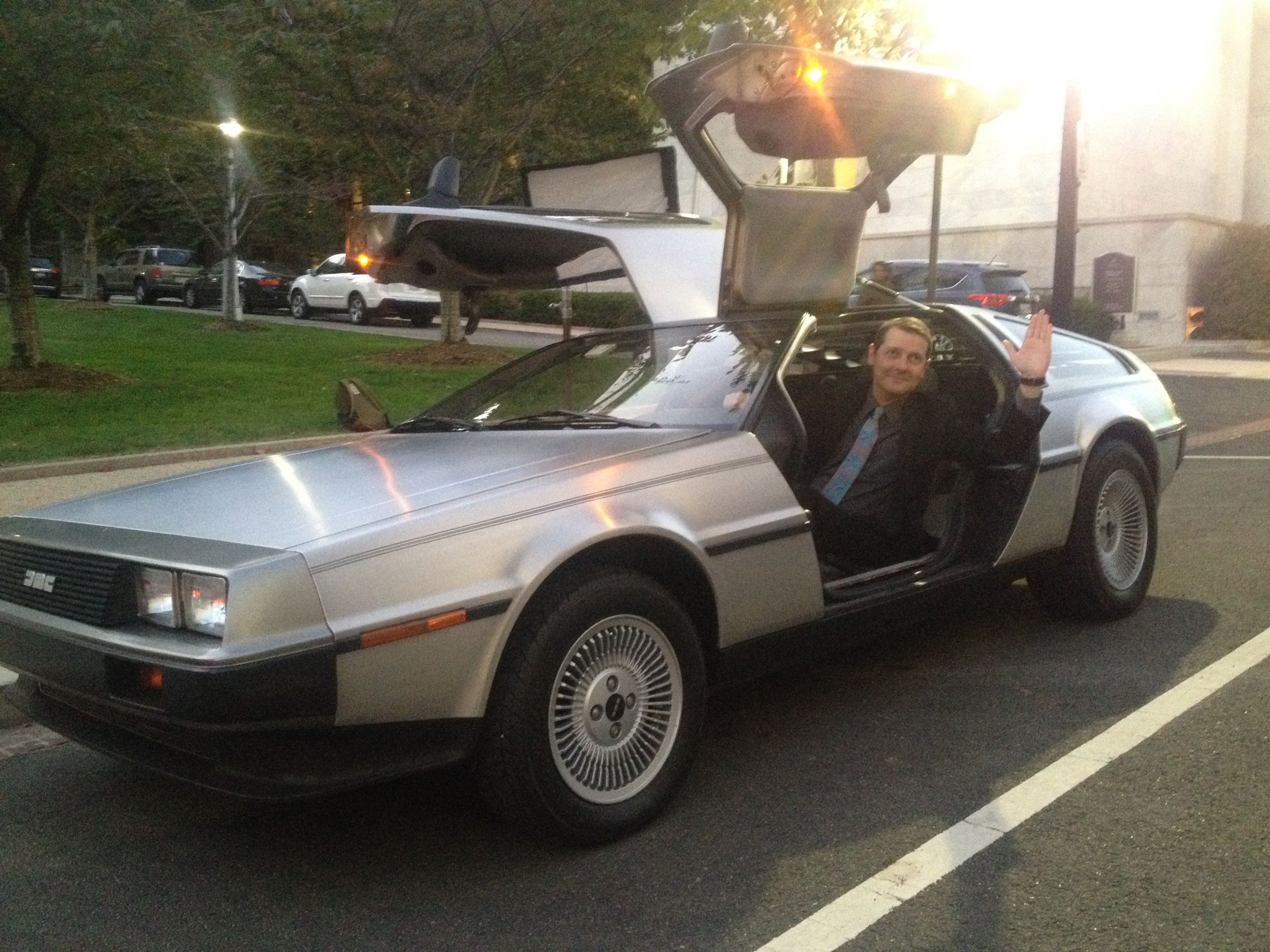 Wadkins in a DeLorean from theBack to the Futuremovie, at a Motion Picture Association of America reception on Capitol Hill.